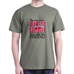 Fishing - Way to a Girl's Heart Dark T-Shirt