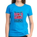 Fishing - Way to a Girl's Heart Women's Dark T-Shi