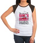 Fishing - Way to a Girl's Heart Women's Cap Sleeve