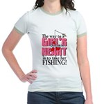 Fishing - Way to a Girl's Heart Jr. Ringer T-Shirt