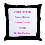 Double Trouble - Pink Throw Pillow