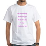 Double Trouble - Pink White T-Shirt