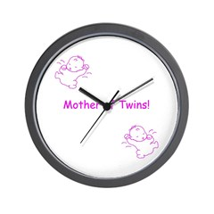 Mother of Twins - Pink Wall Clock