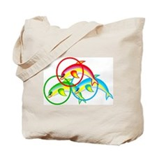 Colorful Dolphin Tote Bag