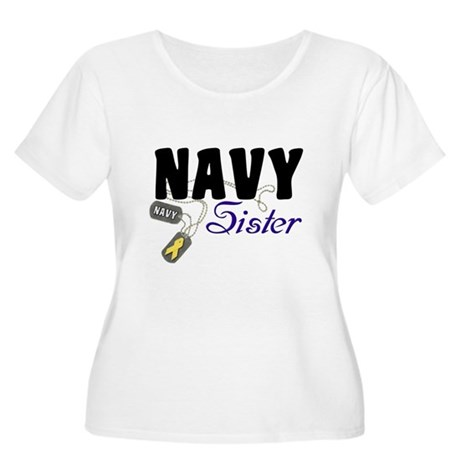 Navy Sister Tags Women's Plus Size Scoop Neck T-Sh