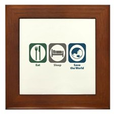 Eat Sleep Save the World Framed Tile