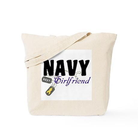 Navy Girlfriend Tags Tote Bag