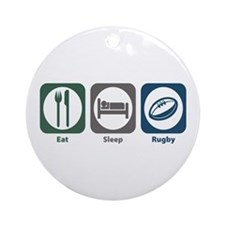 Eat Sleep Rugby Ornament (Round)