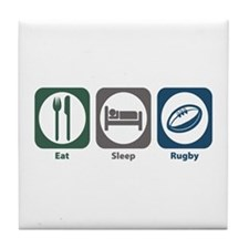 Eat Sleep Rugby Tile Coaster