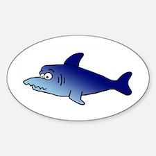 Blue Shark Oval Decal