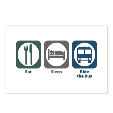 Eat Sleep Ride the Bus Postcards (Package of 8)