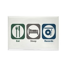 Eat Sleep Records Rectangle Magnet