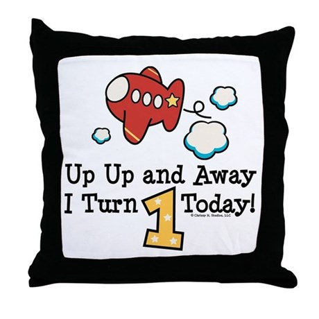 1st Birthday Airplane Throw Pillow
