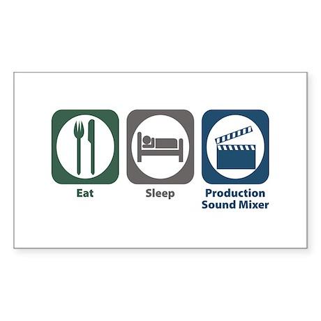 Eat Sleep Production Sound Mixer Sticker (Rectangl