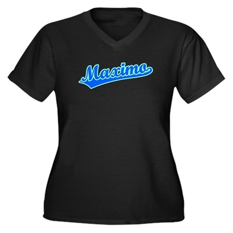 Retro Maximo (Blue) Women's Plus Size V-Neck Dark