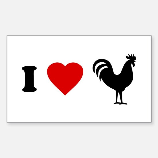 I Love [Heart] Cock Rectangle Stickers
