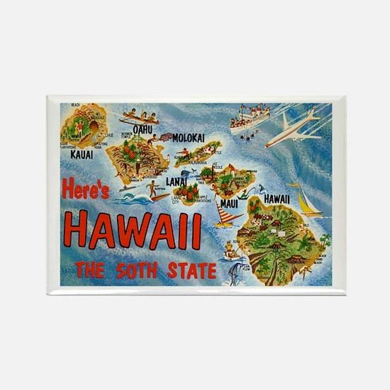 Hawaii Postcard Rectangle Magnet