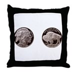 Silver Indian-Buffalo Throw Pillow