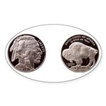 Silver Indian-Buffalo Oval Sticker