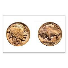 Nickel Indian-Buffalo Rectangle Sticker 10 pk)