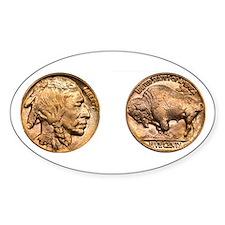 Nickel Indian-Buffalo Oval Decal
