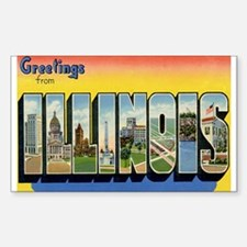 Illinois Postcard Rectangle Decal
