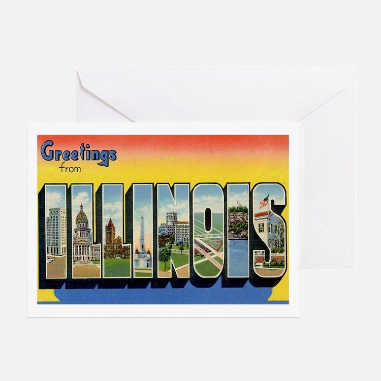 Illinois Postcard Greeting Card
