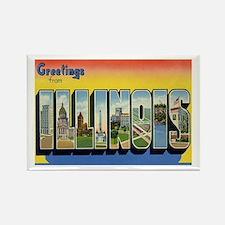 Illinois Postcard Rectangle Magnet
