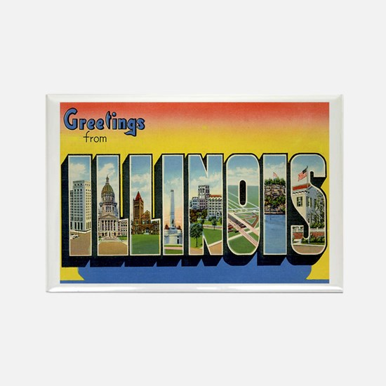 Illinois Postcard Rectangle Magnet