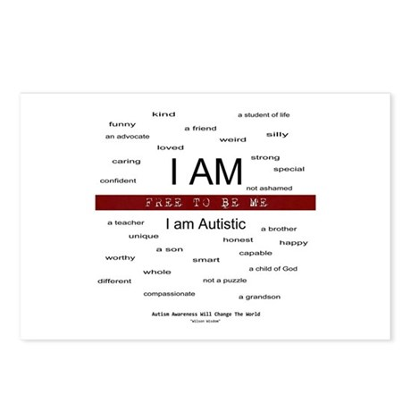 Autism ~ Free to be me Postcards (Package of 8)