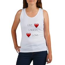 Live Laugh Love Hearts Women's Tank Top