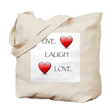 Live Laugh Love Hearts Tote Bag