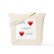 Live Laugh Love Hearts Tote Bag
