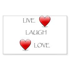 Live Laugh Love Hearts Rectangle Sticker 50 pk)