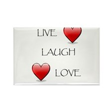 Live Laugh Love Hearts Rectangle Magnet