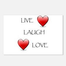 Live Laugh Love Hearts Postcards (Package of 8)