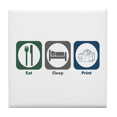 Eat Sleep Print Tile Coaster