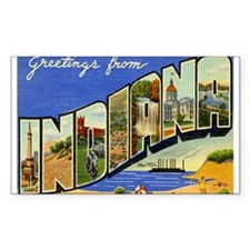 Indiana Postcard Rectangle Decal