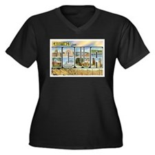 Iowa Postcard Women's Plus Size V-Neck Dark T-Shir