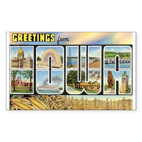 Iowa Postcard Rectangle Sticker