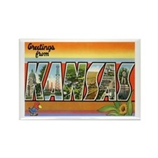 Kansas Postcard Rectangle Magnet