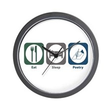 Eat Sleep Poetry Wall Clock