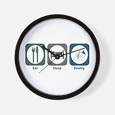 Eat Sleep Poetry Wall Clock