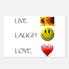 Live Laugh Love Heart Sunflow Postcards (Package o