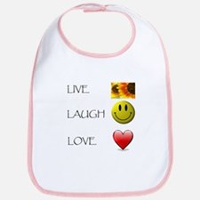 Live Laugh Love Heart Sunflow Bib