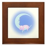 Bunny Sleeping on the Moon Framed Tile