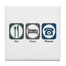 Eat Sleep Phones Tile Coaster