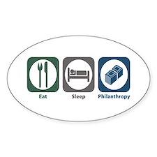 Eat Sleep Philanthropy Oval Decal