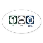 Eat Sleep Paper Making Oval Sticker (10 pk)