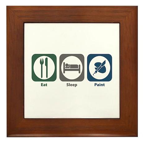 Eat Sleep Paint Framed Tile